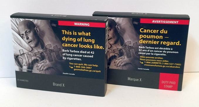 The Government of Canada implements commitment to plain packaging for tobacco products